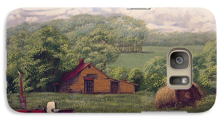 Landscape Galaxy S7 Case featuring the painting Idle In Godfrey Georgia by Peter Muzyka