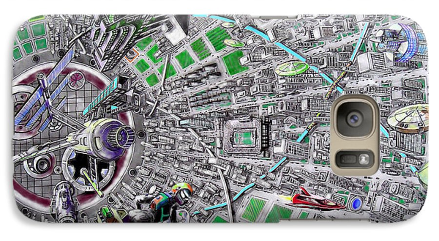 Landscape Galaxy S7 Case featuring the drawing Inside Orbital City by Murphy Elliott