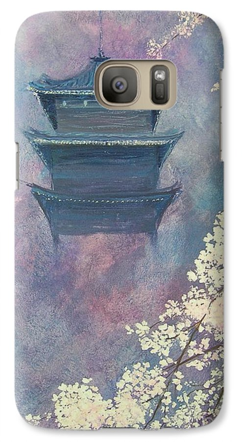 Landscape Japan Galaxy S7 Case featuring the painting Japanese Spring Scene by Lizzy Forrester