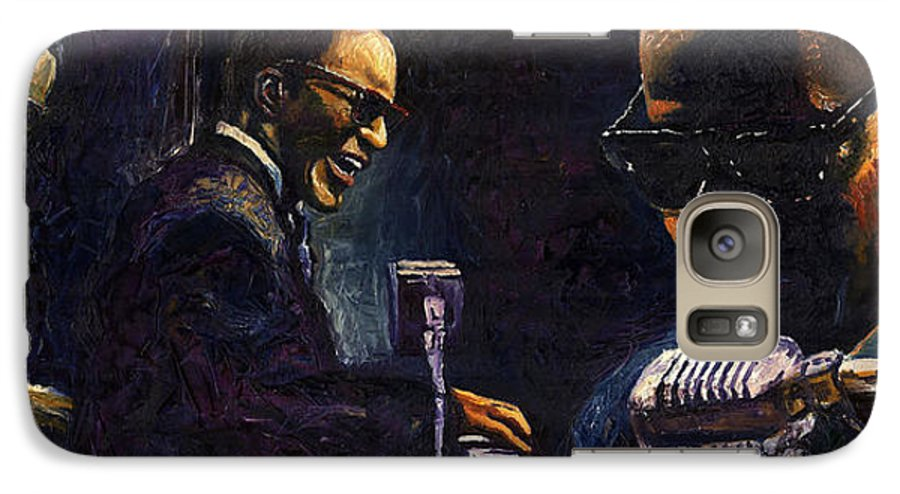 Jazz Galaxy S7 Case featuring the painting Jazz Ray Charles by Yuriy Shevchuk