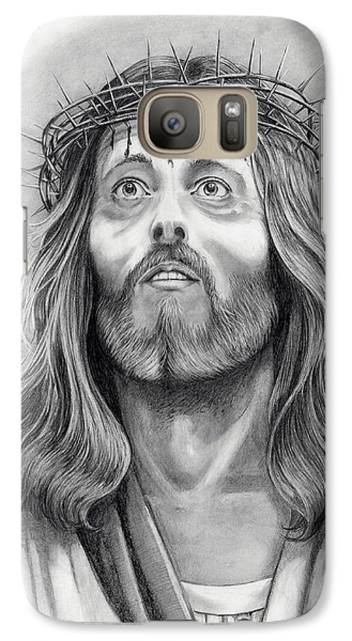 Jesus Christ Galaxy S7 Case featuring the drawing King Of Kings by Murphy Elliott