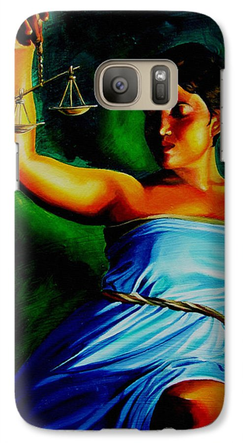 Law Art Galaxy S7 Case featuring the painting Lady Justice by Laura Pierre-Louis
