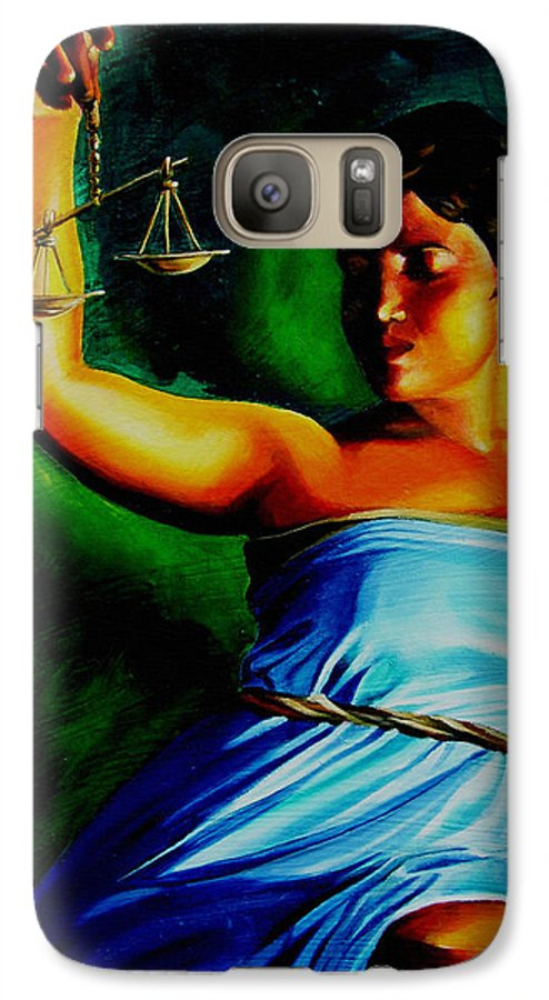 Colorful Galaxy S7 Case featuring the painting Lady Justice by Laura Pierre-Louis