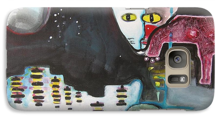 Cat Paintings Galaxy S7 Case featuring the painting Let Me Out3 by Seon-Jeong Kim