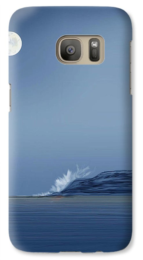 Seascape Galaxy S7 Case featuring the painting Looking At The Moon by Anne Norskog