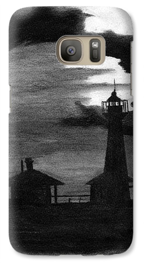 Landscape Galaxy S7 Case featuring the drawing Lydia Ann Lighthouse by Adam Johnson