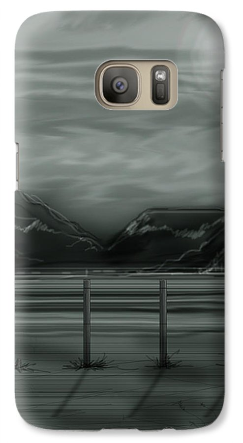 Landscape Galaxy S7 Case featuring the painting Moon Over The Beartooth by Anne Norskog