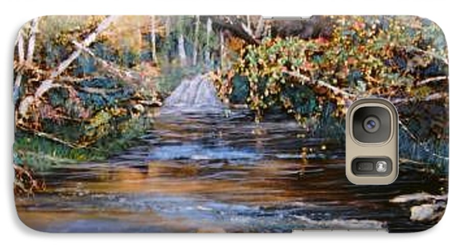 River; Waterfalls Galaxy S7 Case featuring the painting My Secret Place by Ben Kiger