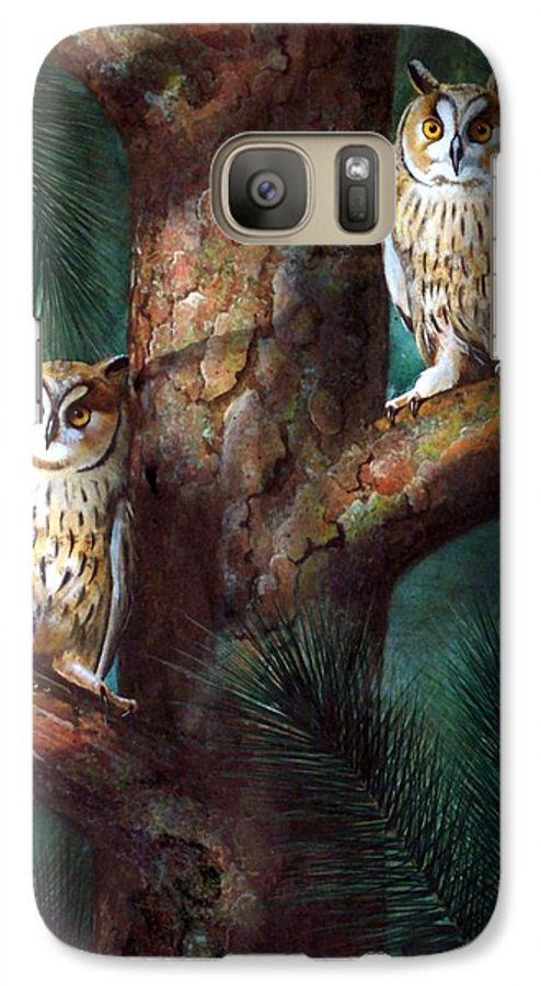 Wildlife Galaxy S7 Case featuring the painting Owls In Moonlight by Frank Wilson