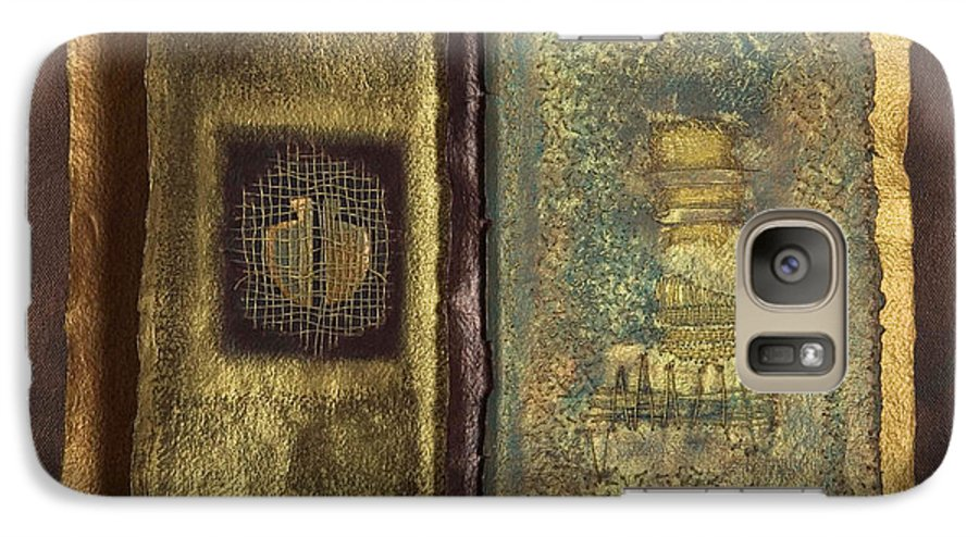 Artist-book Galaxy S7 Case featuring the mixed media Page Format No 1 Transitional Series by Kerryn Madsen-Pietsch