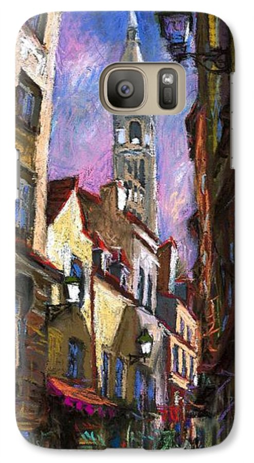 Pastel Galaxy S7 Case featuring the painting Paris Montmartre by Yuriy Shevchuk