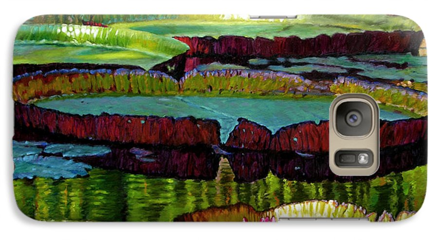 Landscape Galaxy S7 Case featuring the painting Patterns Of Shadow And Sunlight by John Lautermilch