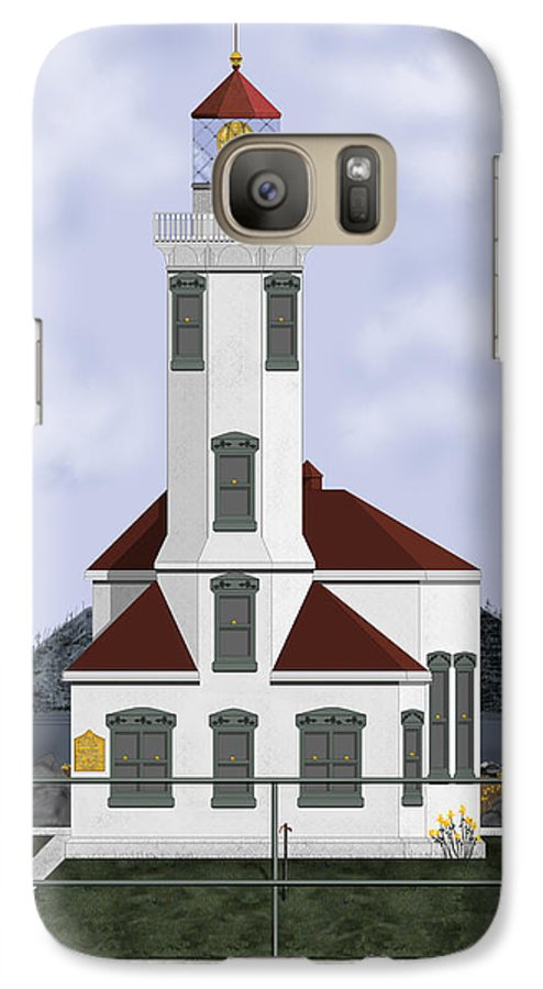 Lighthouse Galaxy S7 Case featuring the painting Point Wilson Lighthouse by Anne Norskog