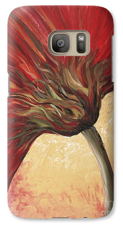 Floral Galaxy S7 Case featuring the painting Power Of Red by Nadine Rippelmeyer