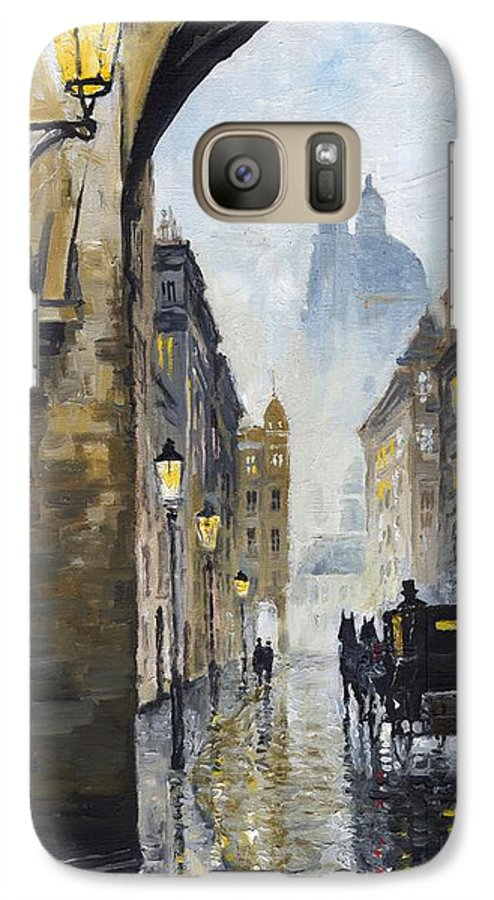 Prague Galaxy S7 Case featuring the painting Prague Old Street 01 by Yuriy Shevchuk