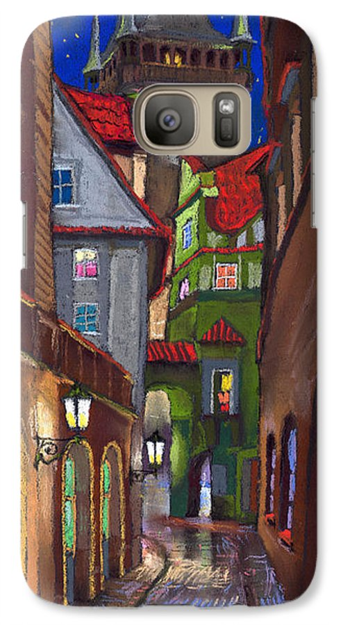 Pastel Galaxy S7 Case featuring the painting Prague Old Street by Yuriy Shevchuk