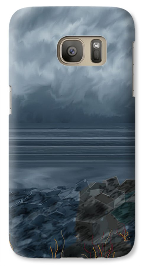 Seascape Galaxy S7 Case featuring the painting Slack Tide On The Jetty by Anne Norskog