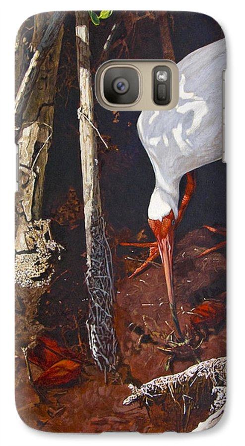 Waterfowl Galaxy S7 Case featuring the painting Sparring For Lunch by Peter Muzyka