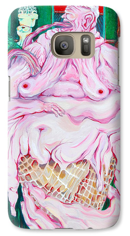 Surreal Galaxy S7 Case featuring the painting Strawberry Sherbet by Julie Fischer