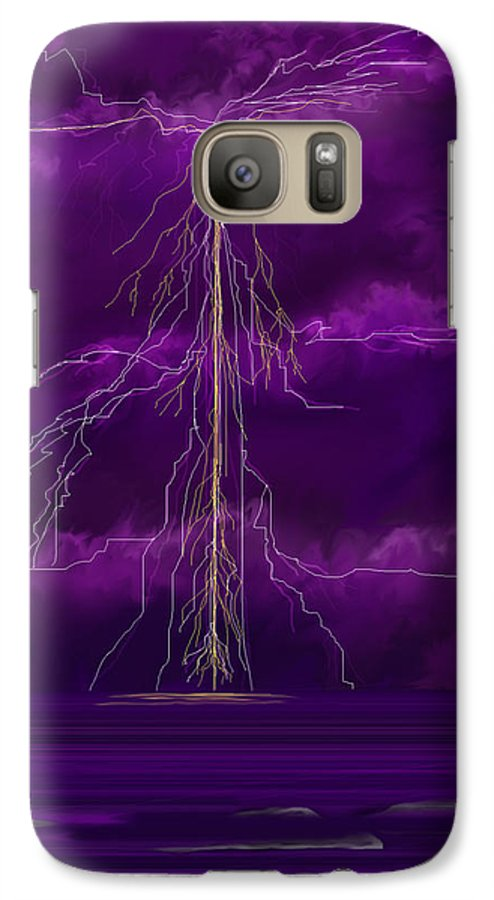 Lightning Storm Galaxy S7 Case featuring the painting Tesla by Anne Norskog