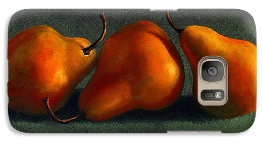 Still Life Galaxy S7 Case featuring the painting Three Golden Pears by Frank Wilson