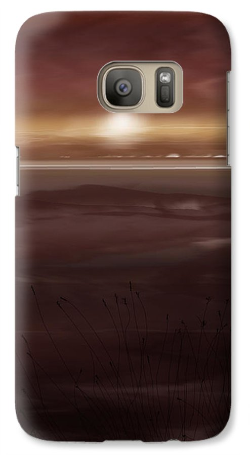 Seascape Galaxy S7 Case featuring the painting Tide Flats At Dusk by Anne Norskog