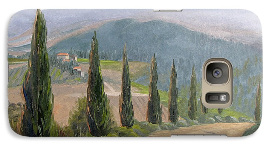 Landscape Galaxy S7 Case featuring the painting Tuscany Road by Jay Johnson