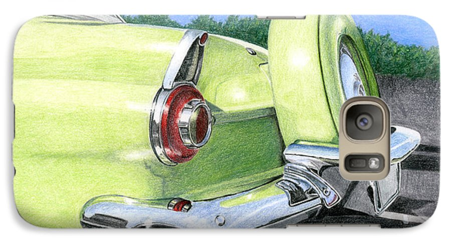 Classic Galaxy S7 Case featuring the drawing 1956 Ford Thunderbird by Rob De Vries
