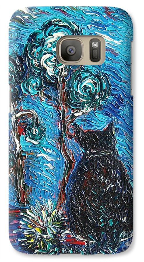Cat Paintings Galaxy S7 Case featuring the painting A Black Cat by Seon-Jeong Kim