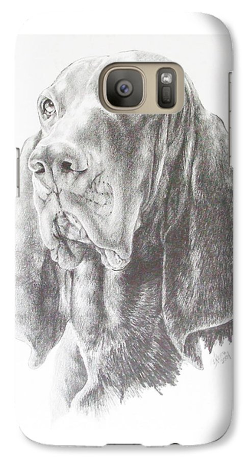 Purebred Dogs Galaxy S7 Case featuring the drawing Black And Tan Coonhound by Barbara Keith