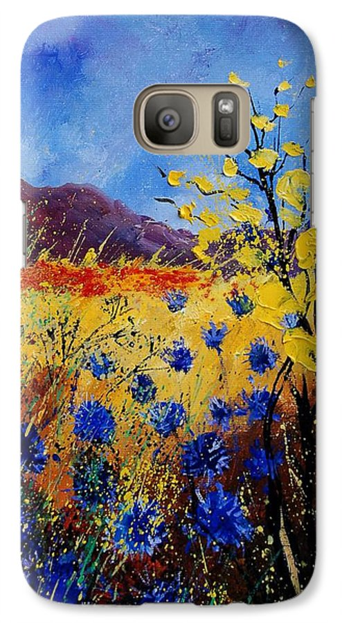 Poppies Flowers Floral Galaxy S7 Case featuring the painting Blue Cornflowers by Pol Ledent
