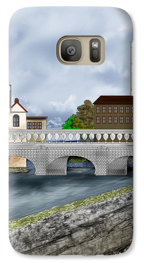 Galway Ireland Bridge Galaxy S7 Case featuring the painting Bridge In Old Galway Ireland by Anne Norskog