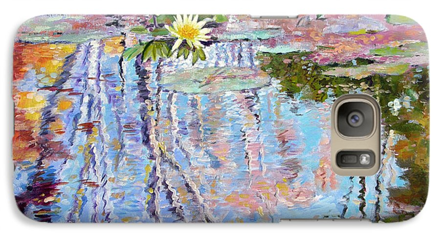 Garden Pond Galaxy S7 Case featuring the painting Fall Reflections by John Lautermilch