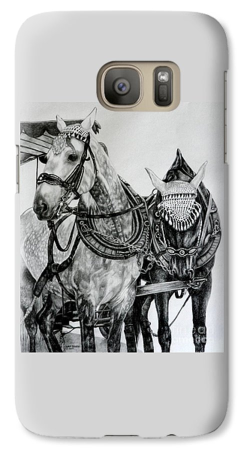 Horse Pencil Black White Germany Rothenburg Galaxy S7 Case featuring the drawing 2 Horses Of Rothenburg 2000usd by Karen Bowden