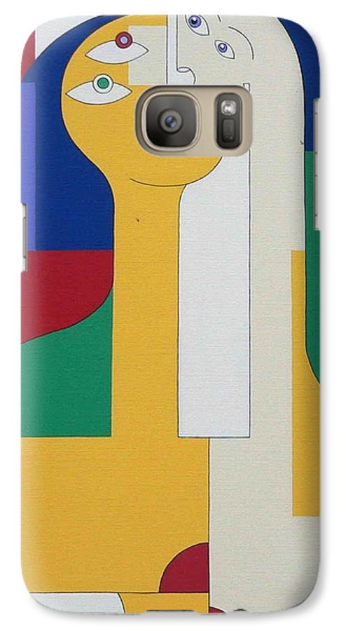 Modern Colors Women Humor Galaxy S7 Case featuring the painting 2 In 1 by Hildegarde Handsaeme