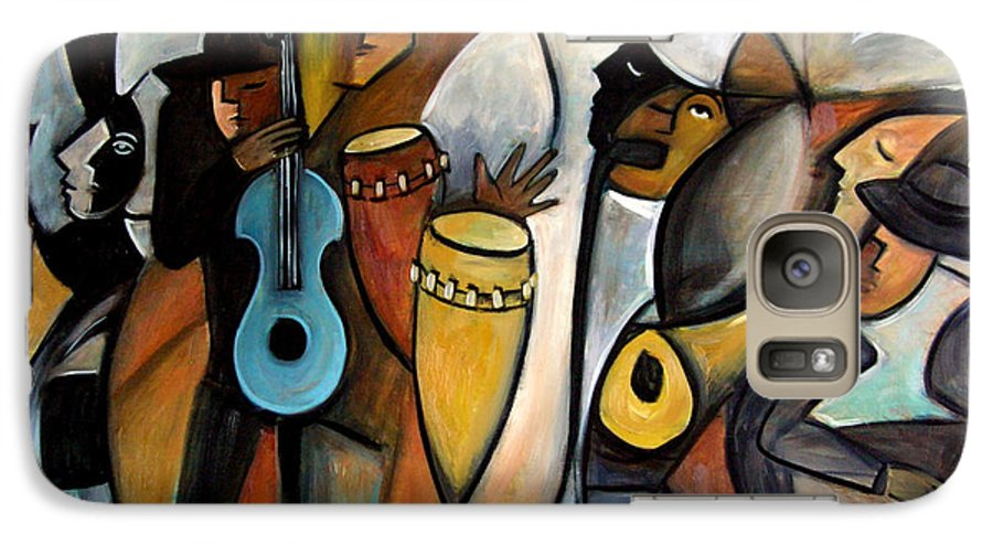 Latin Jazz Musicians Galaxy S7 Case featuring the painting Jazzz by Valerie Vescovi