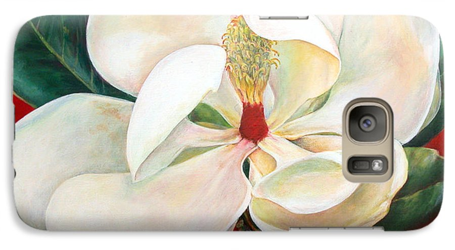 Floral Painting Galaxy S7 Case featuring the painting Magnolia by Muriel Dolemieux