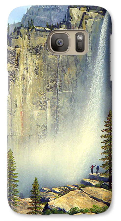 Landscape Galaxy S7 Case featuring the painting Misty Falls by Frank Wilson