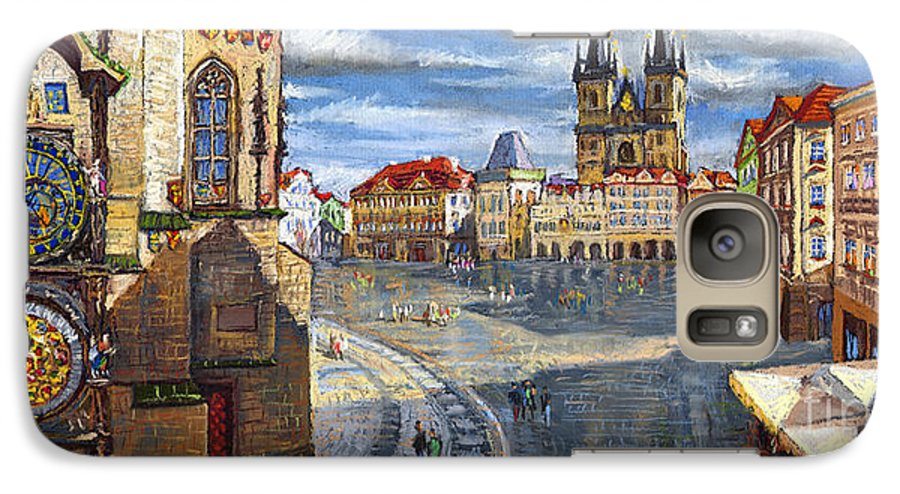 Pastel Galaxy S7 Case featuring the painting Prague Old Town Squere by Yuriy Shevchuk