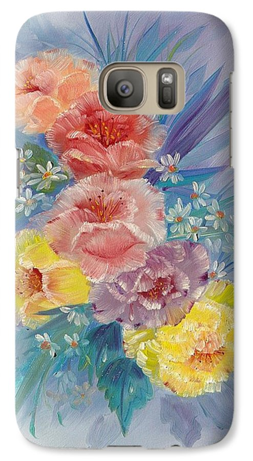 Roses Galaxy S7 Case featuring the painting Roses by Quwatha Valentine