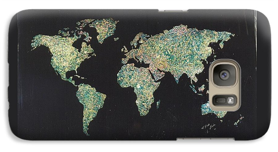 World Maps Galaxy S7 Case featuring the painting Shattered World by Rick Silas