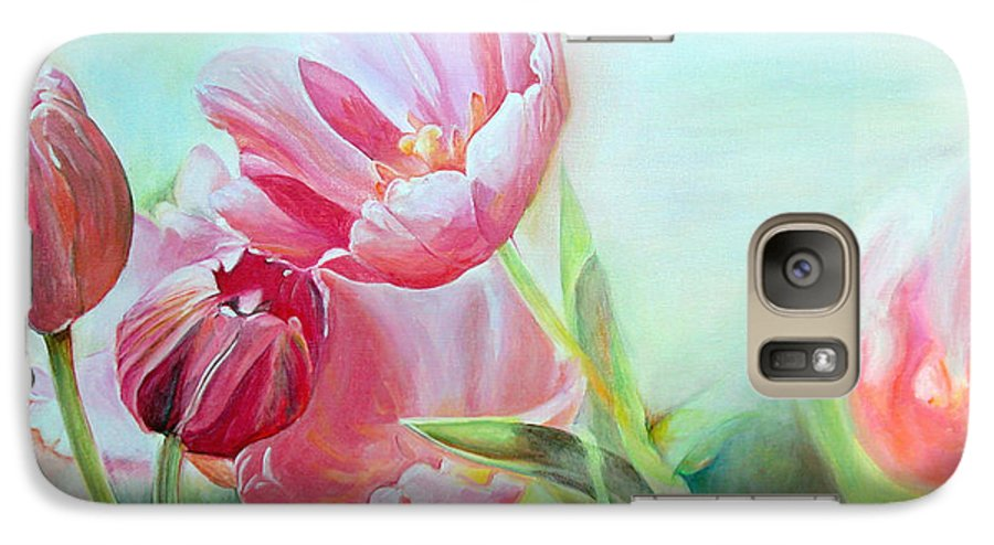 Floral Painting Galaxy S7 Case featuring the painting Tulipes by Muriel Dolemieux