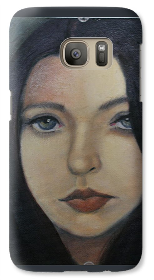 Girl Galaxy S7 Case featuring the painting That Stare by Toni Berry