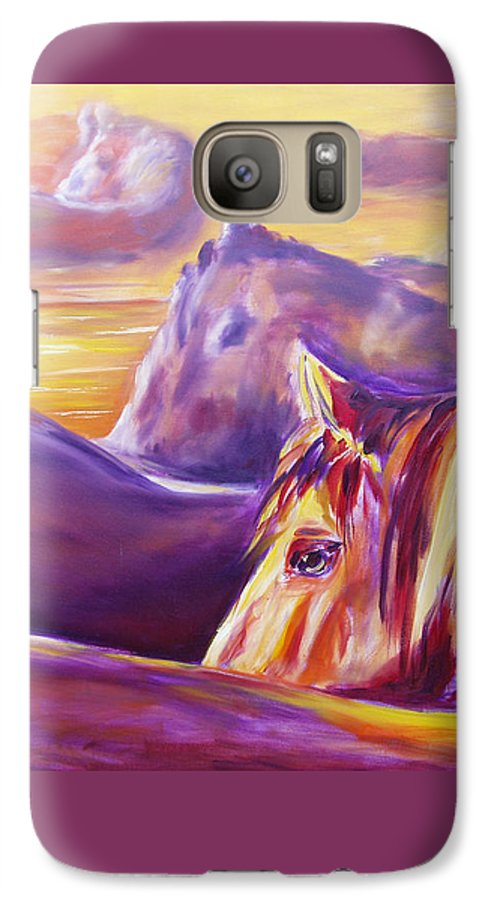 Horses Galaxy S7 Case featuring the painting Horse World by Gina De Gorna