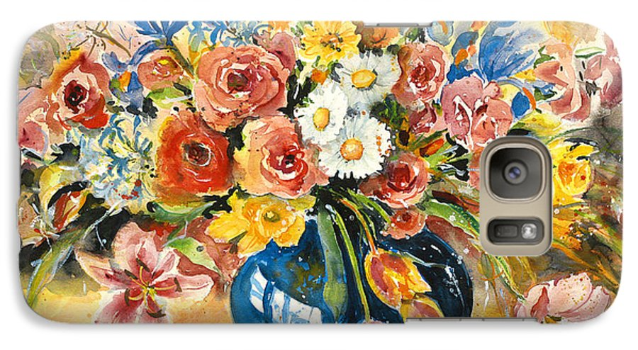 Still Life Galaxy S7 Case featuring the painting Blue Vase by Alexandra Maria Ethlyn Cheshire