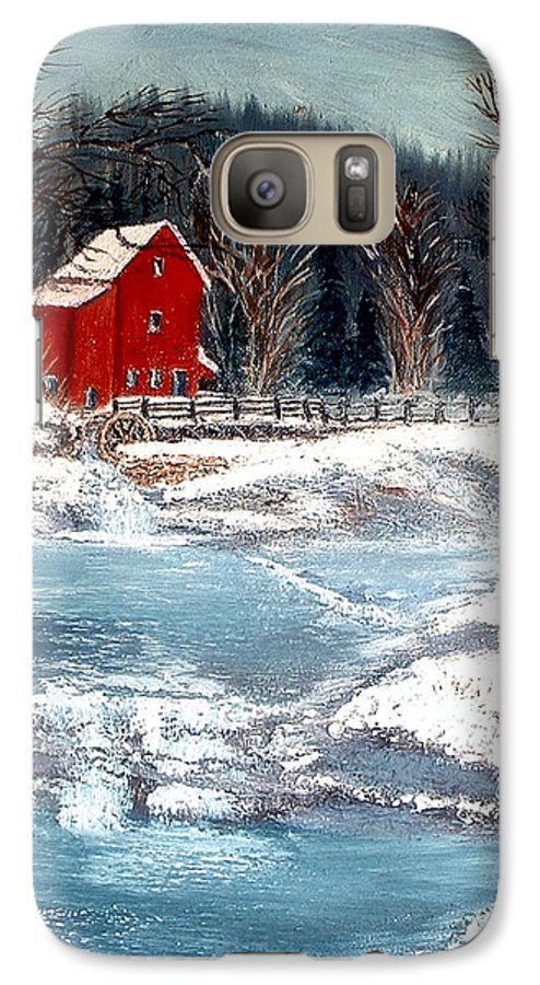Landscape Mill Old Streem Creek Galaxy S7 Case featuring the painting Old Mill by Kenneth LePoidevin