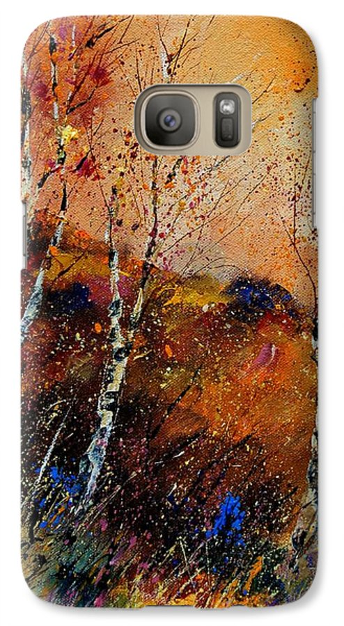 River Galaxy S7 Case featuring the painting 3 Poplars by Pol Ledent
