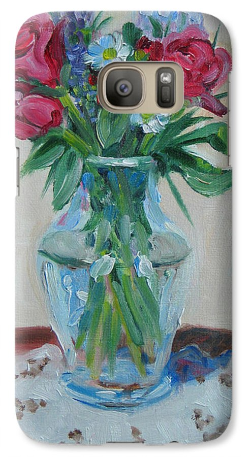 Roses Galaxy S7 Case featuring the painting 3 Roses by Paul Walsh