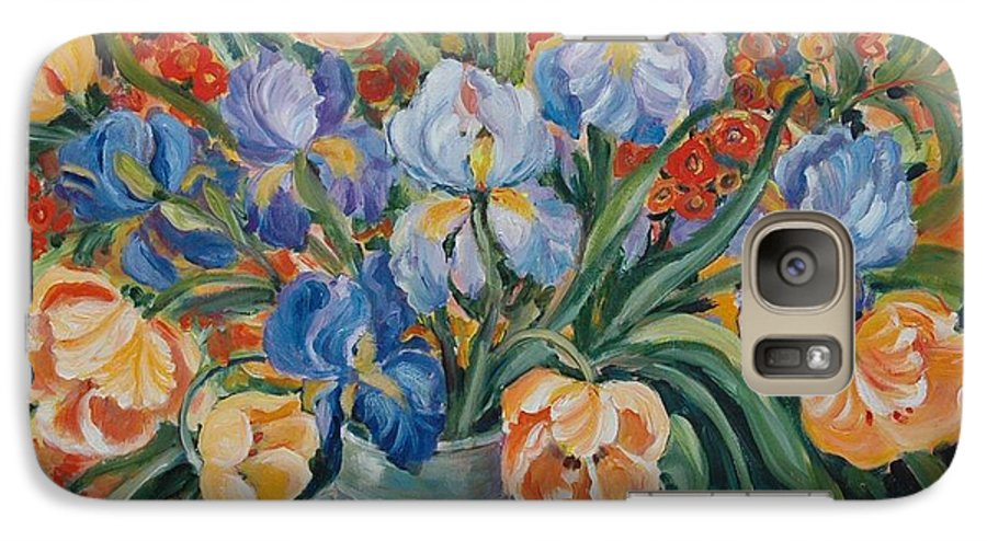 Still Life Galaxy S7 Case featuring the painting Tulips by Alexandra Maria Ethlyn Cheshire