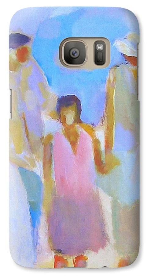 Abstract Galaxy S7 Case featuring the painting 3 With Love by Habib Ayat